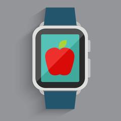 Red apple in watch screen