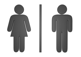 3D male and female gender icons used to mark public restrooms