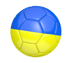 Soccer ball, or football, with the country flag of Ukraine
