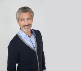 Smiling handsome man with grey hair, isolated