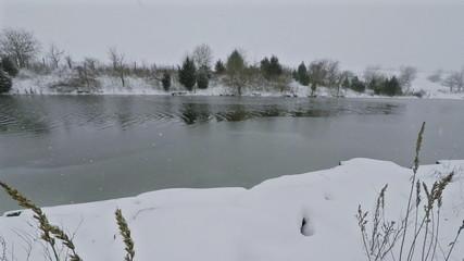 Lake freezing over