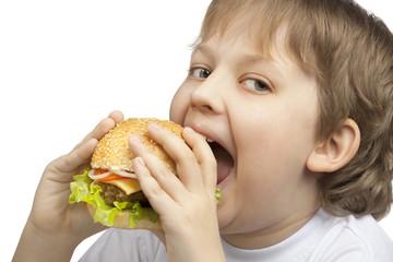 boy with burger