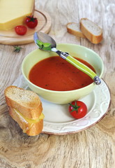 Tomato soup, a baguette and cheese