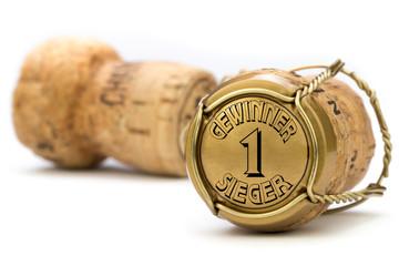 Gewinner Sieger Champagnerkorken