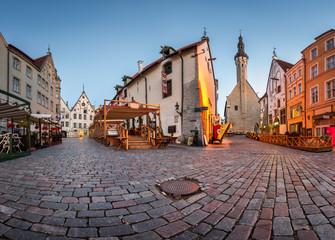 Tallinn Town Hall and Olde Hansa Restaurant in the Morning, Tall
