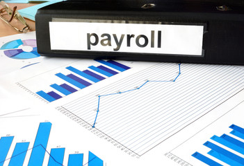 Folder with the label payroll  and charts