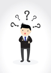 Businessman with question marks Concept