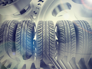 Car wheels on abstract background