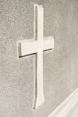 Christian Orthodox Cross Sign On Concrete Wall