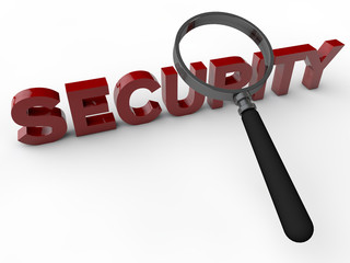 Security 3D Text with magnifier over white Background