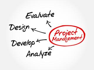 Project Management business product development mind map concept