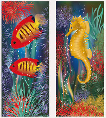 Underwater banners with seahorse and red tropical fish