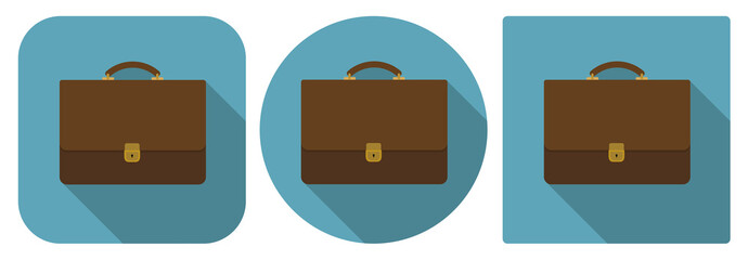 Vector illustration. Icon of brown briefcase in flat design