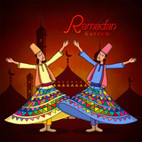 Ramadan Kareem celebration with dervish. poster