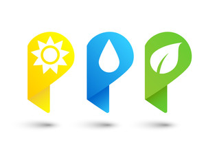 Nature pin icon set with sun, raindrop and leaf