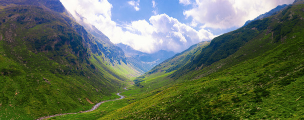 Green Valley in the Alps, Panoramic view