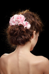 Back view of beautiful bridal haircut.