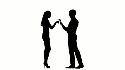 one  couple man and woman drinking wine