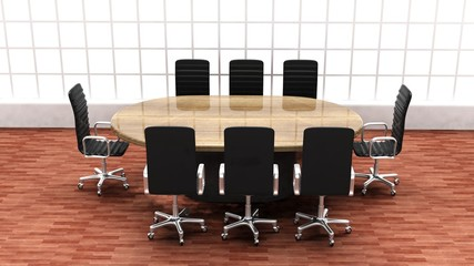 Interior of a modern office meeting room with round table