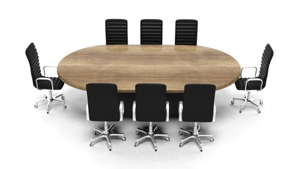 Oval wooden meeting room table with leather chairs