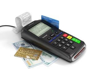 Payment terminal with credit card and money on white background,