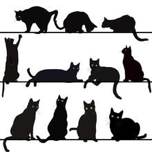 Set von Katzen Silhouetten