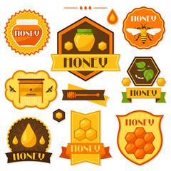 Set of honey and bee labels, badges, emblems