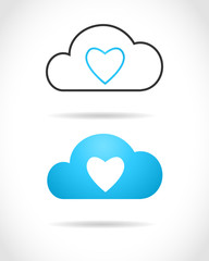 Cloud computing concept with heart symbol