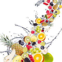 Fresh fruits, falling in water splash, isolated on white
