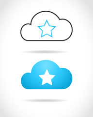 Cloud computing concept with star