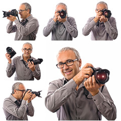 Smiling photographer with professional camera collection