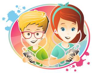 happy kids / kids are using smartphone