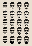 Fototapety hipster faces with beard, user, avatar, vector icon set