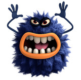 blue cartoon hairy monster 3d