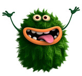 green cartoon hairy monster 3d