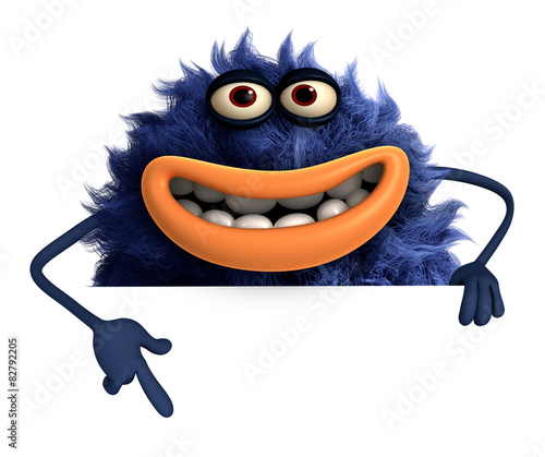 Fotobehang Sweet Monsters blue cartoon hairy monster 3d