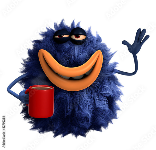 Plexiglas Sweet Monsters blue cartoon hairy monster 3d