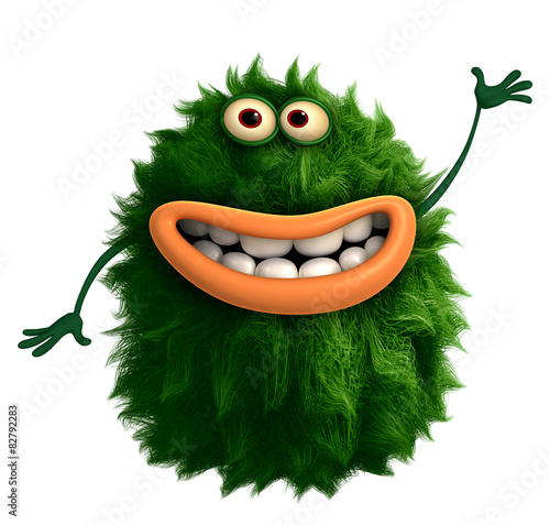 Aluminium Sweet Monsters green cartoon hairy monster 3d