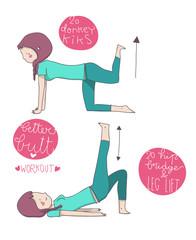 esercizi illustrati glutei sedere prima parte