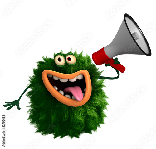 Deurstickers Sweet Monsters green cartoon hairy monster 3d