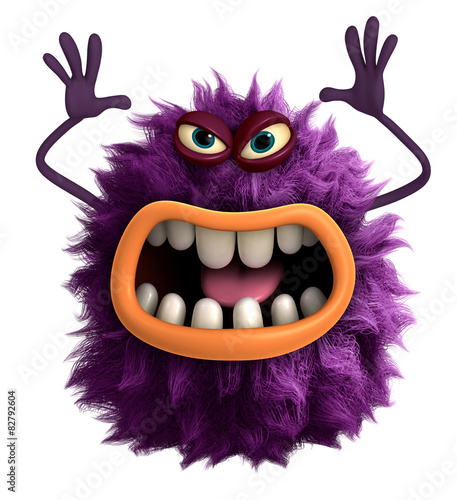 Plexiglas Sweet Monsters purple cartoon hairy monster 3d