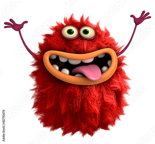 Aluminium Sweet Monsters red cartoon hairy monster 3d