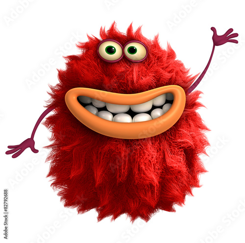 Keuken foto achterwand Sweet Monsters red cartoon hairy monster 3d