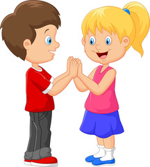 Cartoon children hand clapping games
