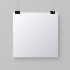 White blank square sheet of paper, vector mock-up