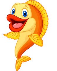 Cartoon adorable goldfish