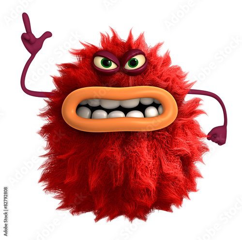 Keuken foto achterwand Sweet Monsters cartoon hairy monster 3d