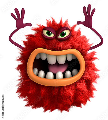 Tuinposter Sweet Monsters cartoon hairy monster 3d