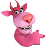 pink cartoon monster 3d