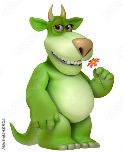 Keuken foto achterwand Sweet Monsters green cartoon monster 3d